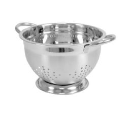 12 Units of Home Basics 3 QT  Deep Colander with High Stability Base and Open Handles, Silver - Strainers & Funnels