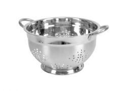 12 Units of Home Basics5 QT  Deep Colander with High Stability Base and Open Handles, Silver - Strainers & Funnels