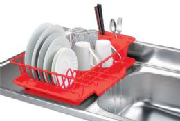 6 Units of Home Basics Vinyl Coated Steel Dish Drainer, Red - Dish Drying Racks