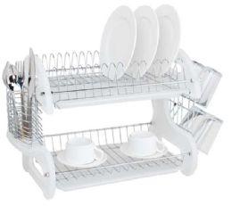 6 Units of Home Basics 2 Tier Plastic Dish Drainer, White - Dish Drying Racks