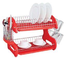 6 Units of Home Basics 2-Tier Plastic Dish Drainer - Dish Drying Racks