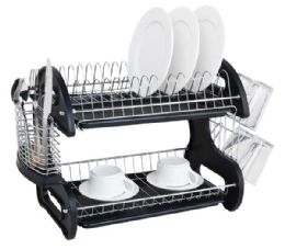 6 Units of Home Basics 2 Tier Plastic Dish Drainer, Black - Dish Drying Racks
