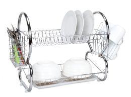 6 Units of Home Basics 2-Tier Chrome Dish Drainer - Dish Drying Racks