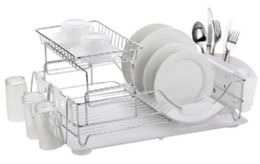 6 Units of Home Basics Chrome Plated Steel 2 Tier Deluxe Dish Drainer - Dish Drying Racks
