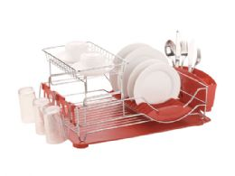 6 Units of Home Basics 2-Tier Deluxe Dish Drainer - Dish Drying Racks