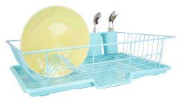 6 Units of Home Basics 3 Piece Dish Drainer, Turquoise - Dish Drying Racks