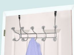 12 Units of Home Basics 5 Hook Over the Door Hanging Rack with Crystal Knobs,Chrome - Hooks