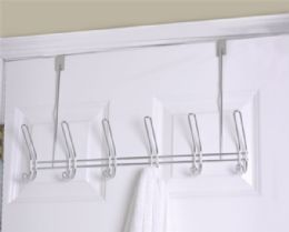 8 Units of Home Basics 6 Dual Hook Over the Door Chrome Plated Steel Hanging Rack - Hooks