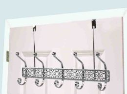12 Units of Home Basics 5 Dual Hook Chrome Plated Steel Over the Door Hanging Rack - Hooks