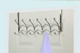12 Units of Home Basics Chrome Plated Steel 6 Hook Over the Door Hanging Rack - Hooks