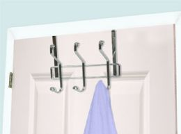 24 Units of Home Basics 3 Dual Hook Over the Door Chrome Plated Steel Hanging Organizing Rack - Hooks