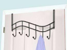 12 Units of Home Basics Wave 6  Hook Over the Door Organizing Rack, Black Onyx - Hooks