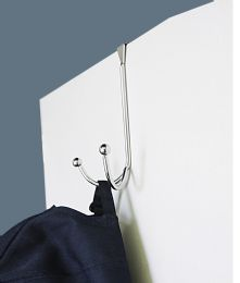36 Units of Home Basics Over the Door Double Hook with Rounded Knobs, Chrome - Hooks