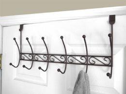 12 Units of Home Basics Steel Over the Door 6 Hook Hanging Rack, Bronze - Hooks