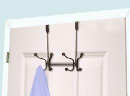 12 Units of Home Basics 4 Dual Hook Over the Door Hanging Rack, Bronze - Hooks