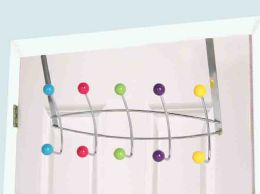 12 Units of Home Basics 5 Wooden Dual Hook Over the Door Steel Organizing Rack, Multi-Color - Hooks