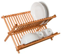 12 Units of Home Basics Rustic Collection Pine Folding Dish Rack - Dish Drying Racks