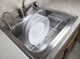 6 Units of Home Basics Vinyl Coated Steel Over The Sink Rack, White - Dish Drying Racks