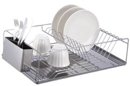 6 Units of Home Basics Chrome Plated Steel Dish Rack With Tray - Dish Drying Racks