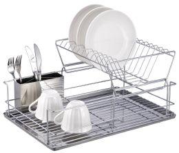 6 Units of Home Basics 2-Tier 3 Piece Steel Dish Drainer - Dish Drying Racks