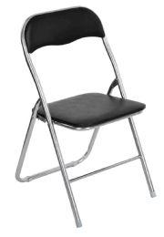 6 Units of Home Basics Metal Folding Chair, Black - Furniture
