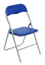 6 Units of Home Basics Metal Folding Chair, Blue - Furniture