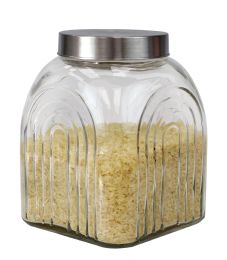 6 Units of Home Basics Heritage 3.5 LT Glass Jar with Silver Lid - Glassware