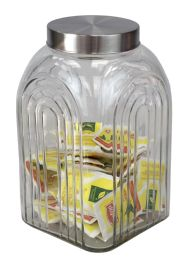 6 Units of Home Basics Heritage 4.8 LT Glass Jar with Silver Lid - Glassware