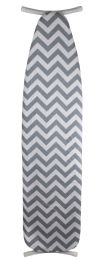 """12 Units of Sunbeam Classic Chic Chevron  15"""" x 54"""" Cotton Ironing Board Cover, Grey - Laundry  Supplies"""