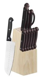 12 Units of Home Basics 13 Piece Knife Set with Block in Black - Kitchen Knives
