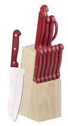 12 Units of Home Basics 13 Piece Knife Set with Block in Red - Kitchen Knives