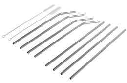 24 Units of Home Basics 10 Piece Stainless Steel Drinking Straw Set, Silver - Kitchen Gadgets & Tools