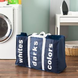 24 Units of Sunbeam Navy 3 Section Laundry Bag - Laundry Baskets & Hampers
