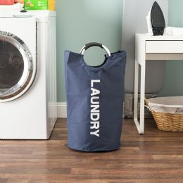 12 Units of Home Basics Canvas Laundry Hamper Tote with Soft-Grip Padded Aluminum Handles, Navy - Laundry Baskets & Hampers
