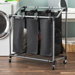 4 Units of Sunbeam Mesh Triple Sorter with Wheels, Black - Laundry Baskets & Hampers
