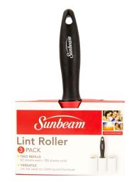 24 Units of Sunbeam 60 Sheet Lint Roller with 2 Refillable Rolls, Black - Laundry  Supplies