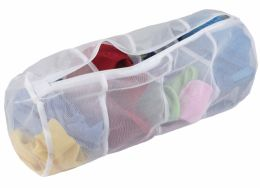 24 Units of Sunbeam 4 Compartment Micro Mesh Wash Bag, White - Laundry Baskets & Hampers