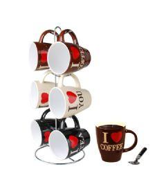 6 Units of Home Basics I Love Coffee 6 Piece Mug Set With Stand - Coffee Mugs
