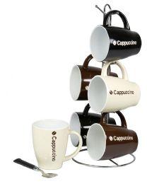6 Units of Home Basics Cappuccino 6 Piece Mug Set With Stand - Coffee Mugs