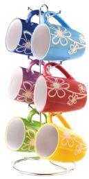 6 Units of Home Basics 6 Piece Daisy Mug Set With Stand, MultI-Color - Coffee Mugs
