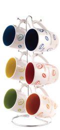 6 Units of Home Basics 6 Piece Mug Set With Stand - Coffee Mugs