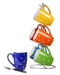 6 Units of Home Basics 6 Piece Polka Dot Mug Set With Stand - Coffee Mugs