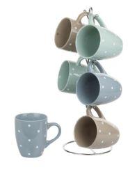 6 Units of Home Basics 6 Piece Polka Dot Mug Set With Stand, MultI-Color Pastel - Coffee Mugs