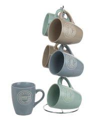 6 Units of Home Basics Classic Coffee 6 Piece Mug Set With Stand - Coffee Mugs