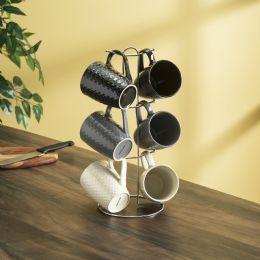 6 Units of Home Basics 6 Piece Crochet Mug Set With Stand, MultI-Color - Coffee Mugs