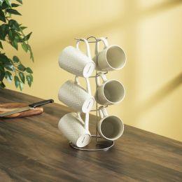 6 Units of Home Basics 6 Piece Crochet Mug Set With Stand, White - Coffee Mugs