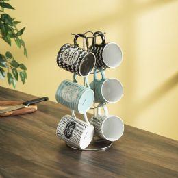 6 Units of Home Basics It's Coffee Time 6 Piece Mug Set With Stand, MultI-Color - Coffee Mugs