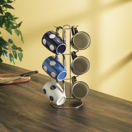 6 Units of Home Basics 6 Piece Polka Dot Mug Set With Stand, White - Coffee Mugs