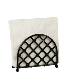 12 Units of Home Basics Lattice Collection FreE-Standing Napkin Holder, Black - Napkin and Paper Towel Holders