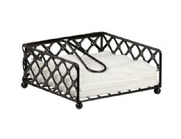 12 Units of Home Basics Lattice Collection Flat Napkin Holder With Weighted Pivoting Arm, Black - Napkin and Paper Towel Holders
